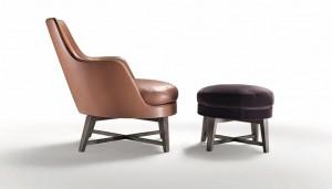 Πολυθρόνα και μικρή πάνκα Guscio του Antonio Citterio για τη Flexform.