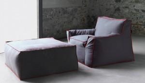 Πολυθρόνα με υποπόδιο Jelly 1700 από τον Gianluigi Landoni για τη Vibiefe.