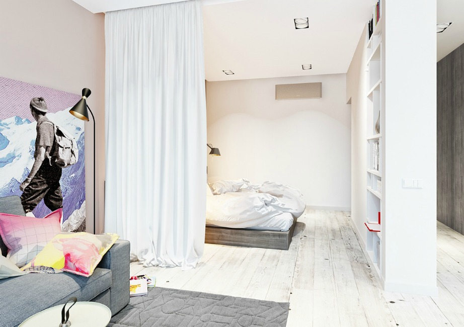 Η πιο απλή και σίγουρα πιο οικονομική επιλογή είναι να βάλετε απλά μια κουρτίνα ως διαχωριστικό.