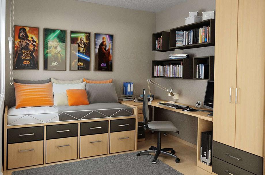 Ο καναπέα-κρεβάτι, οι αποθηκευτικοί χώροι αλλά κυριώς τα ενδιαφέροντα του εφήβου είναι σημαντικά στοιχεία για τη διακόσμηση του δωματίου του.