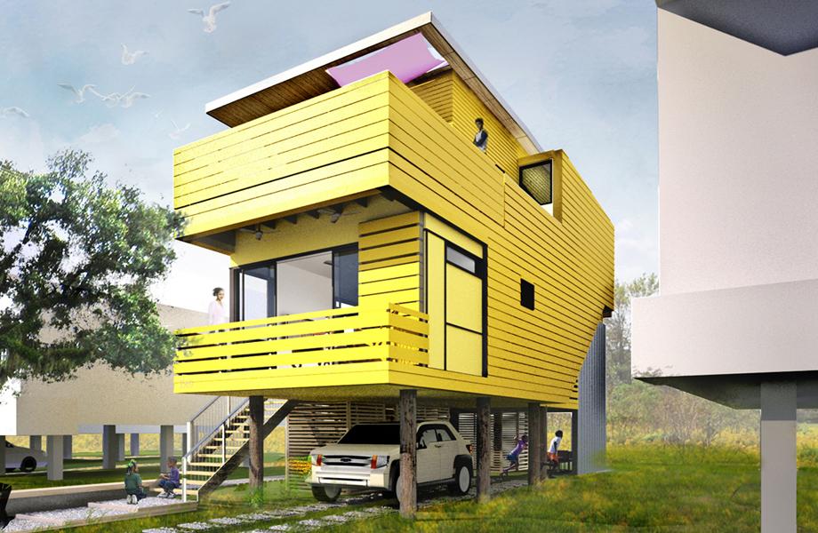 Πρότυπη διπλοκατοικία της σειράς «πράσινων» κατοικιών χαμηλού κόστους του οργανισμού Make It Right, που ίδρυσε ο Brad Pitt. Σχεδιασμένο από τους William McDonough + Partners.