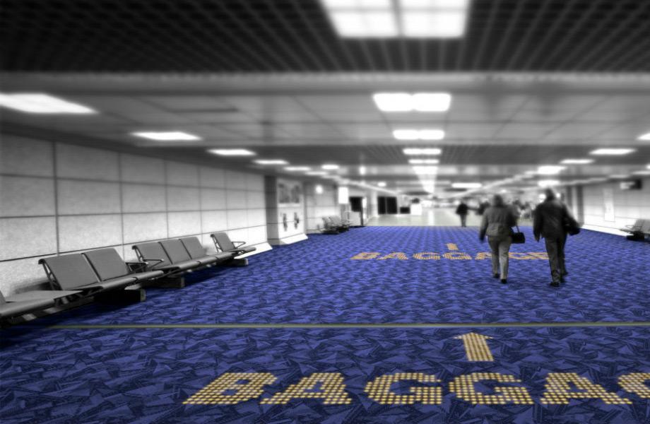 Το έξυπνο χαλί μπορεί να χρησιμοποιηθεί για να κατευθύνει τους επιβάτες στο χώρο των αποσκευών του αεροδρομίου.