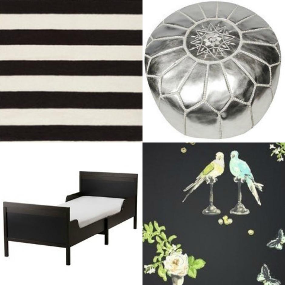 Ενισχύστε το μαύρο δωμάτιο με ένα ριγέ χαλάκι, ένα μεταλλιζέ πουφ, ένα μαύρο κρεβάτι με έντονο πάπλωμα και μαύρη ταπετσαρία με σχεδιάσκια