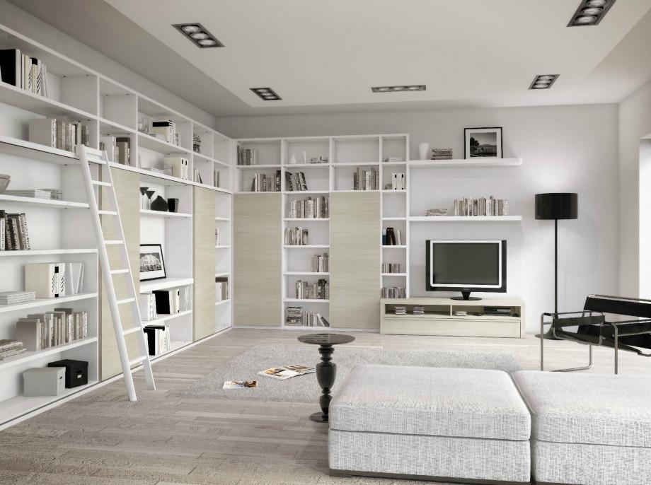 Βάλτε ράφια και βιβλιοθήκες στην ίδια απόχρωση με τον τοίχο για να νοιώσετε πώς ανακαινίσατε τον χώρο σας για να δημιουργήσετε την αίσθηση της εννιαίας βιβλιοθήκης