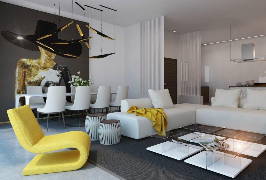 Μία κίτρινη καρέκλα ή πολυθρόνα και ένα κίτρινο ριχτάρι μεταμορφώνουν τον χώρο στο δευτερόλεπτο