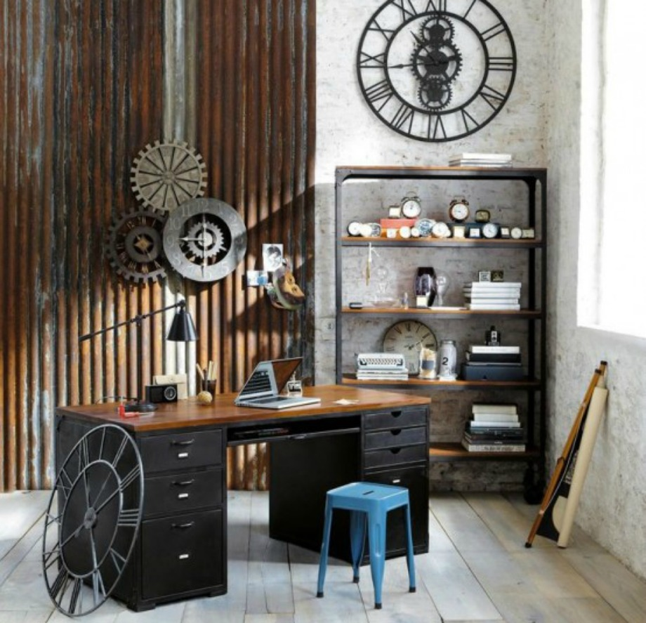 Το μέταλλο και το ξύλο είναι τα βασικά στοιχεία που θα δείτε στην industrial διακόσμηση