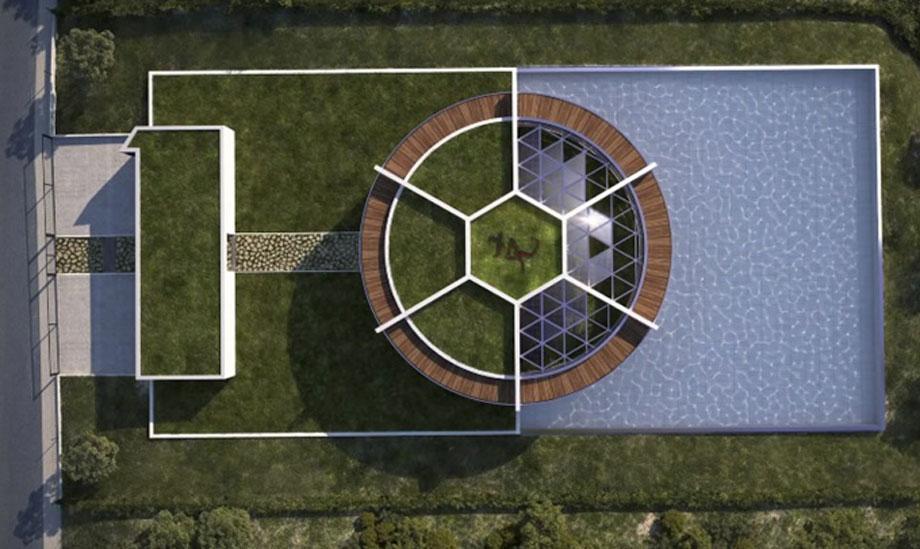 Η κεντρική είσοδος σε συνδυασμό με το σπίτι σχηματίζουν τον αριθμό 10, τον τυχερό αριθμό του ποδοσφαιριστή.