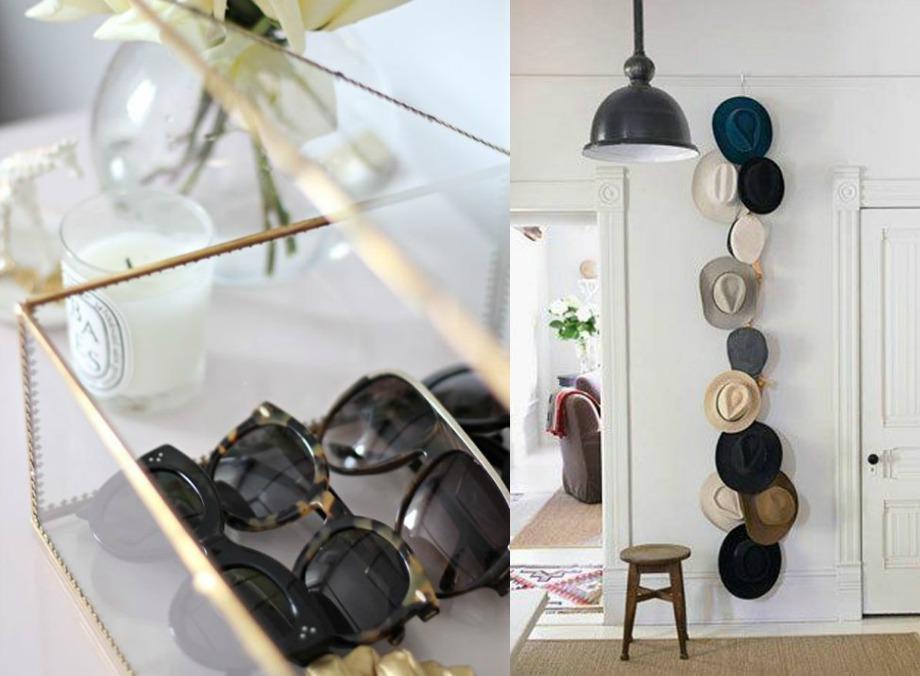 Kρεμάστε τα καπέλα σας στον τοίχο και βάλτε όλα σας τα γυαλιά ηλίου μέσα σε όμορφα διαφανή πλαστικά ή γυάλινα κουτιά