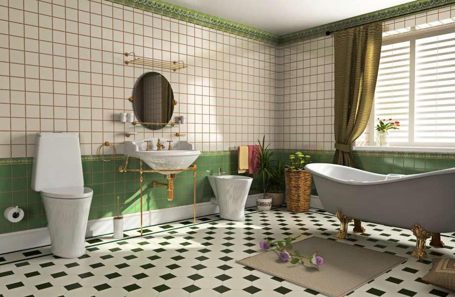 Δώστε ενέργεια στο μπάνιο σας ενσωματώνοντας το χρώμα από τα πλακάκια στη διακόσμησή του.