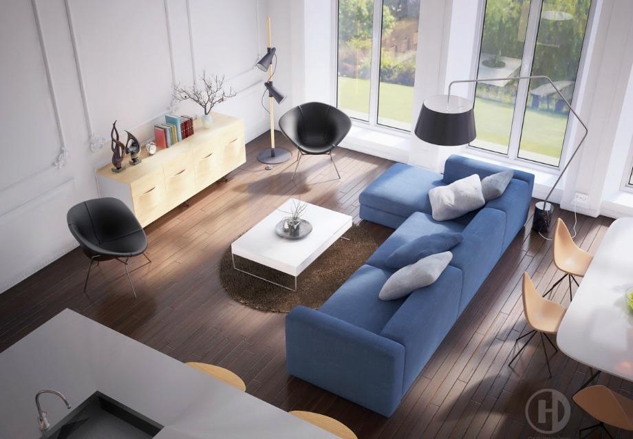 Επιλέξτε πού θα φτιάξετε το σαλόνι σας με κριτήριο το πού είναι τα παράθυρα και οι μπαλκονόπορτες