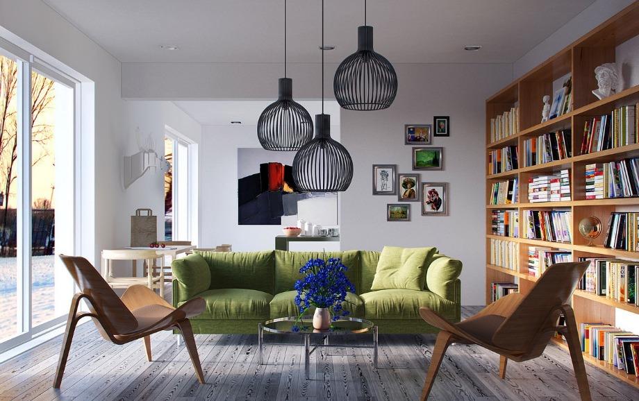 Ένας πράσινος άνετος καναπές προσφέρει στιλ σε ένα σαλόνι