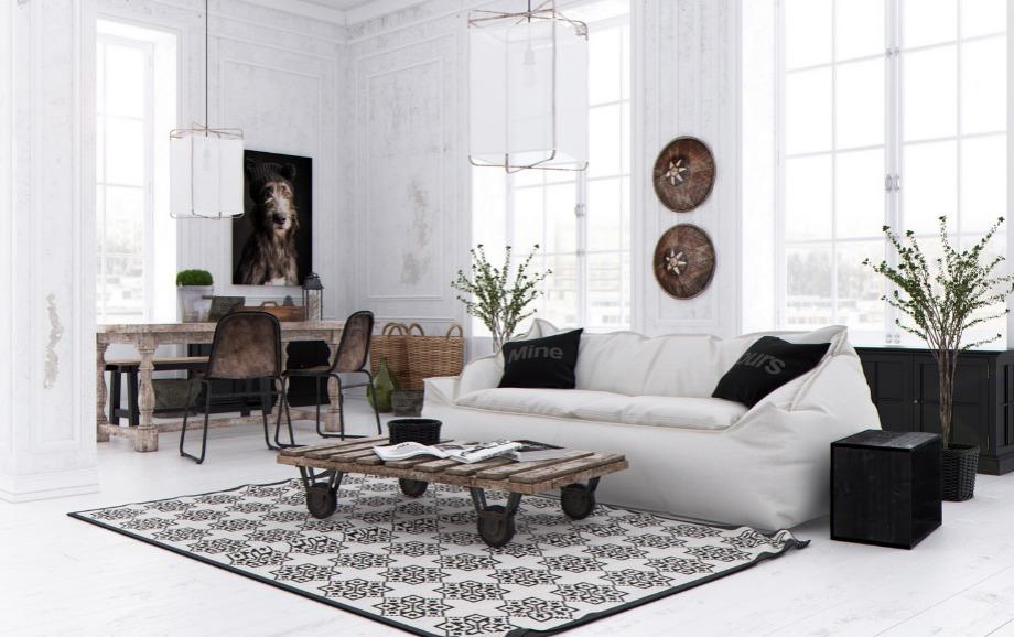 Μην φοβάστε να φτιάξετε ένα μοντέρνο σαλόνι μπλέκοντας διαφορετικά υλικά και υφές