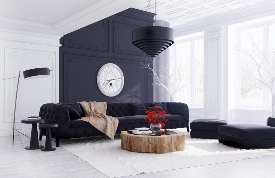 Σε αυτό το σαλόνι το λευκό σπάει σε διάφορα σημεία με το μαύρο δημιουργώντας ένα ωραίο μοντέρνο αποτέλεσμα
