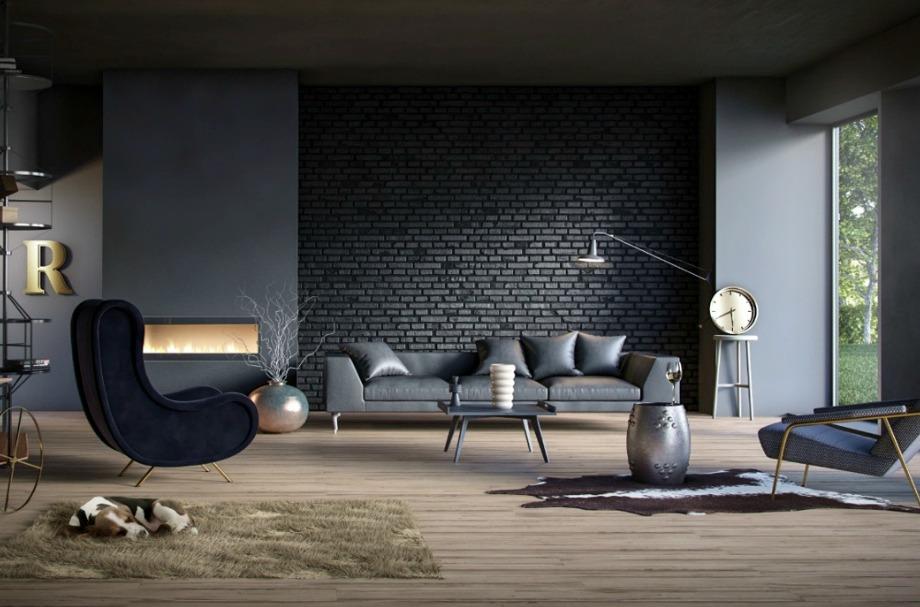Στο συγκεκριμένο σαλόνι ο καναπες είναι απλός αλλά με την τριγύρω διακόσμηση αποκτάει μοντέρνο χαρακτήρα