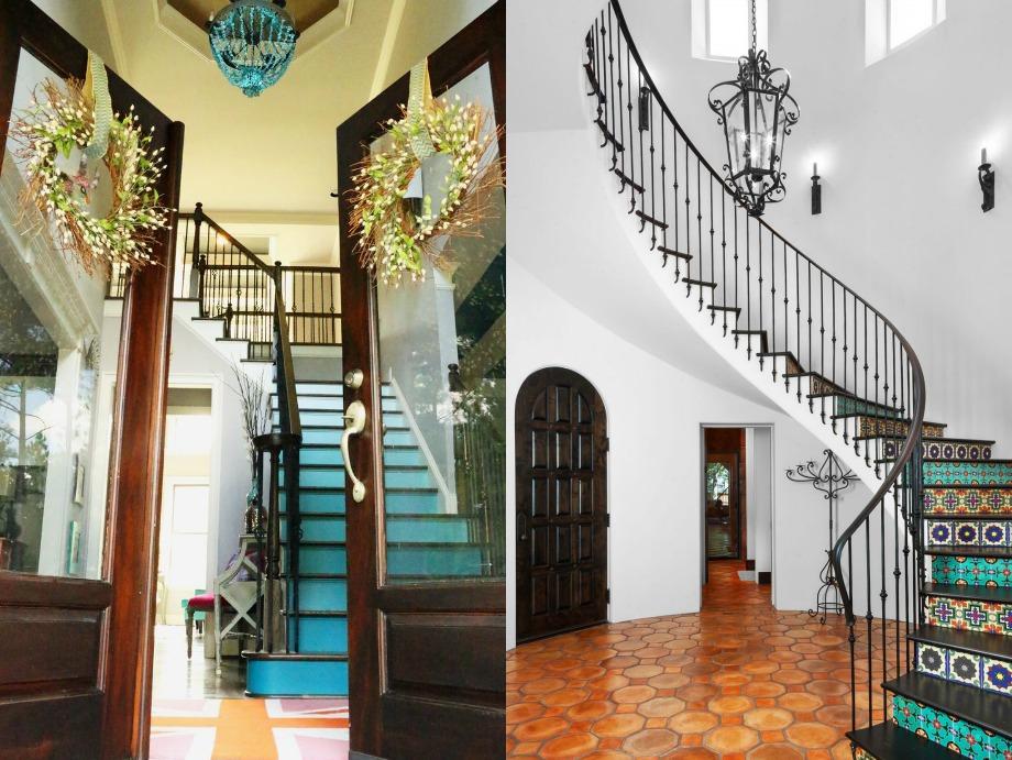 Μπορείτε να διακοσμήσετε τις σκάλες σας με ομπρέ σχέδιο (αριστερά) ή με