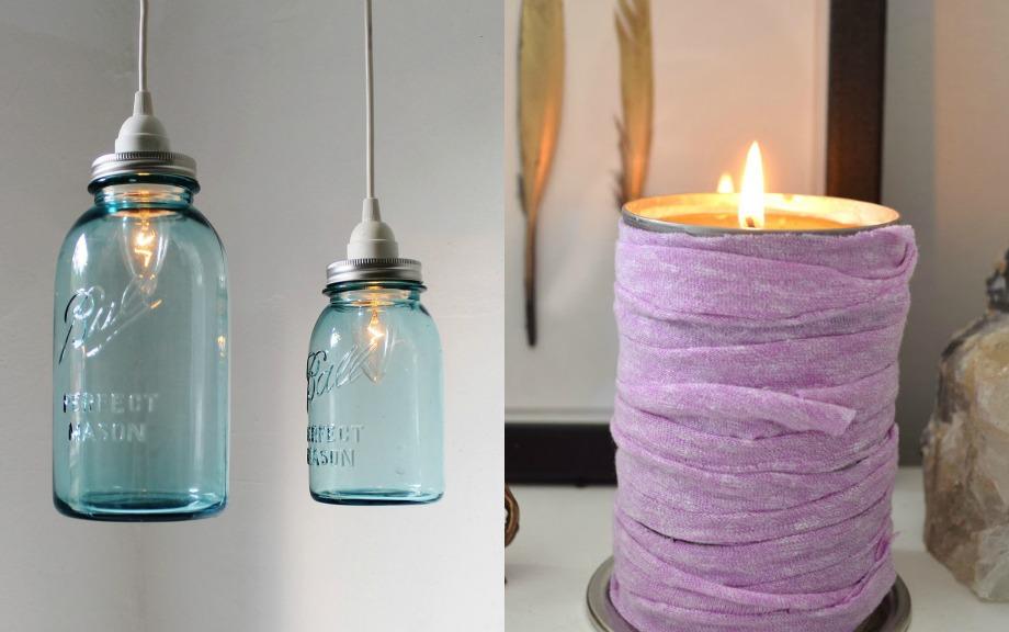 Μπορείτε να δημιουργήσετε ένα σωρό πράγματα με παλιά βαζάκια. Από όμορφα διακοσμητικά κεριά μέχρι και αυτοσχέδια φωτιστικά