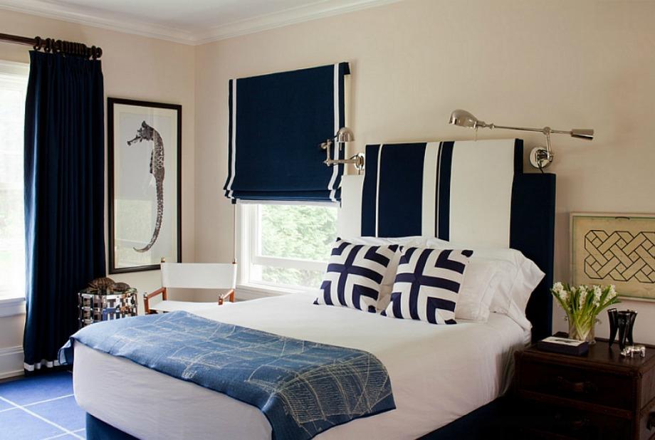 Το ναυτικό μπλε σε συνδυασμό με άσπρο θα δώσει καλοκαιρινή πνοή στο δωμάτιό σας