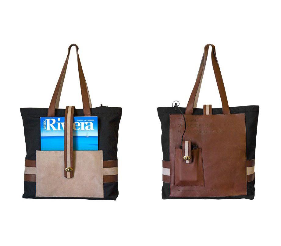 Ο Μίλτος Καμπουρίδης συνδύασε το δέρμα με το ύφασμα στη δική του τσάντα.