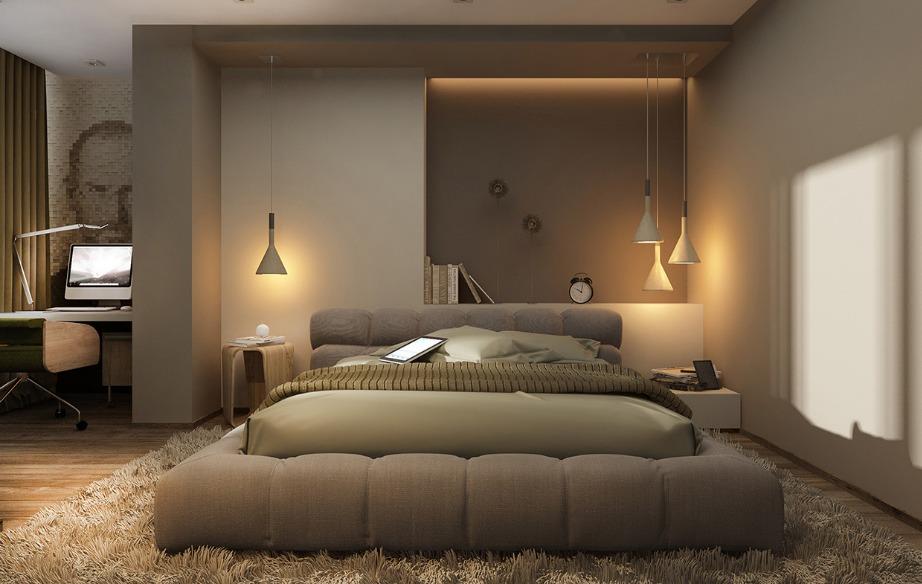 Οι γήινοι τόνοι και το χουχουλιάρικο κρεβάτι κάνουν αυτό το υπνοδωμάτιο πολύ φιλόξενο