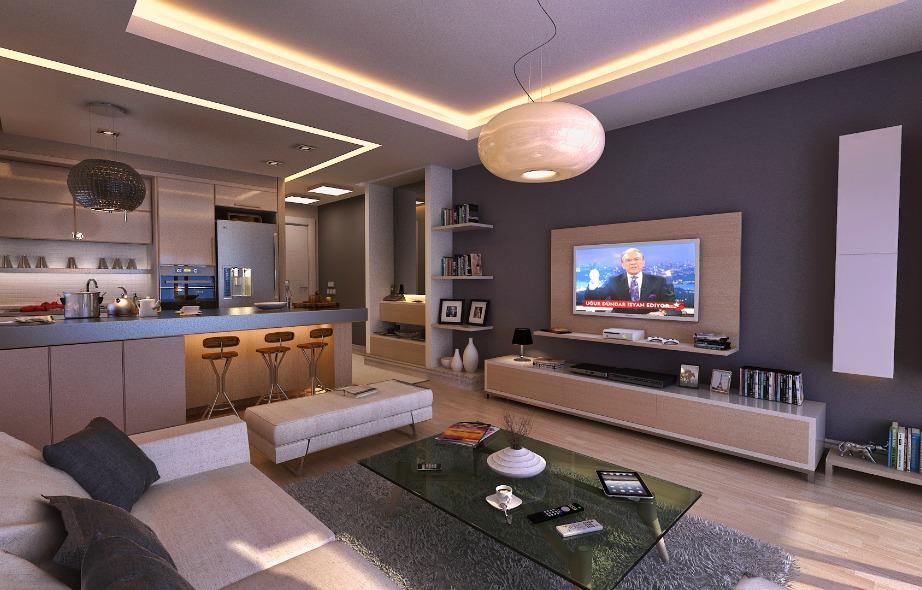 Ένας μεγάλος καναπές, μια μεγάλη τηλεόραση και απλή διακόσμηση είναι αρκετά για να δημιουργήσετε ένα ωραίο εργένικο σαλόνι