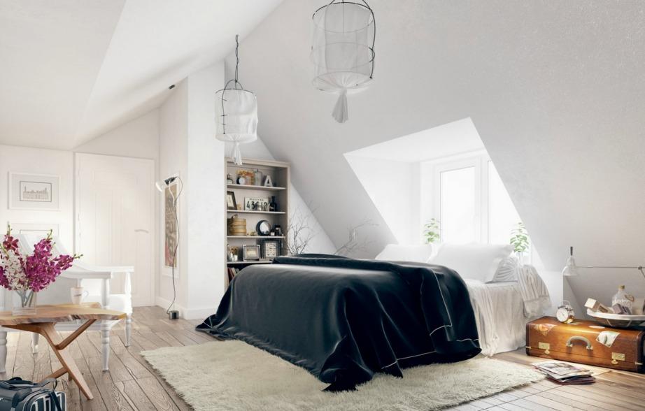Αυτό το δωμάτιο έχει διακοσμηθεί εξ'ολοκλήρου με λευκό εκτός από την καταμαυρη βελούδινη κουβέρτα που δημιουργεί μια πολύ όμορφη αντίθεση