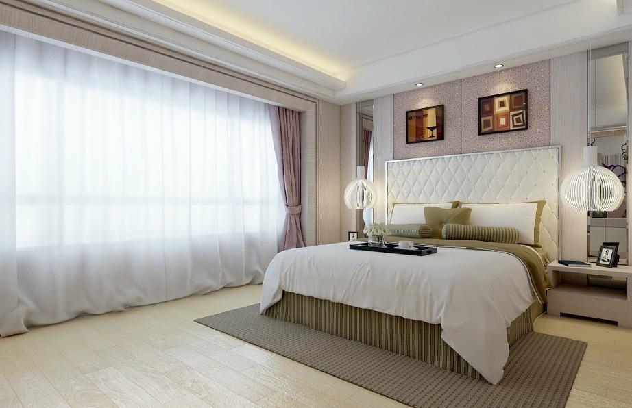 Το μοβ, το γκρι και το άσπρο είναι τρία χρώματα που ταιριάζουν πολύ σεένα υπνοδωμάτιο