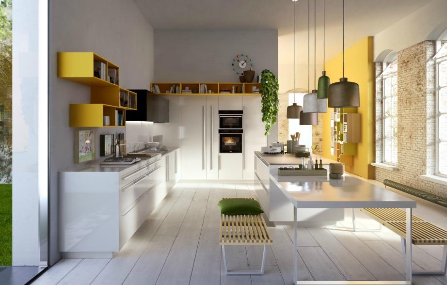 Οι μεγάλοι πάγκοι θα σας λ'υσουν τα χέρια και τα πολλά ντουλάπια θα βοηθήσουν ώστε να μην φαίνεται παραφορτωμένη η κουζίνα σας