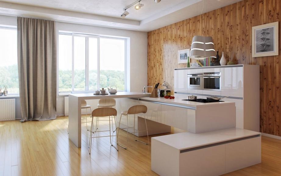 Αυτός ο πάγκος διαθέτει πολλά επίπεδα και γεμίζει μια κουζίνα με τον χώρο που πιάνει