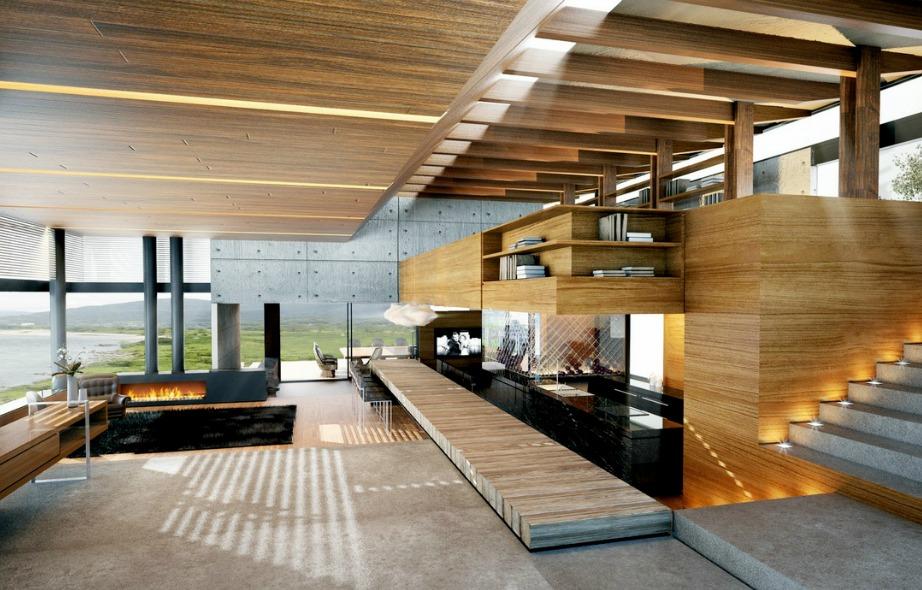 Ξύλο, φωτιά και νερό ενώνονται μοναδικά σε αυτό το σαλόνι με την υπέροχη θέα