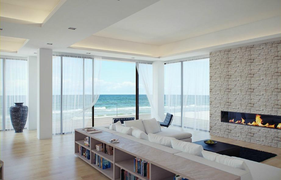 Επιλέξτε χαλαρή διακόσμηση με απαλές γραμμές για να διακοσμήσετε ένα σπίτι με θέα στην παραλία