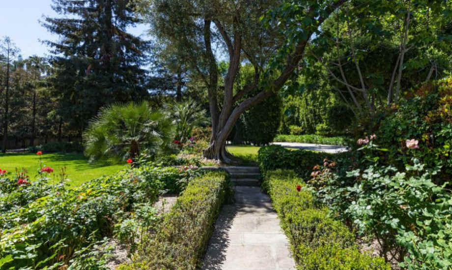 Ο κήπος με τις τριανταφυλλιές βρίσκεται στο κέντρο του τεράστιου κήπου της έπαυλης.