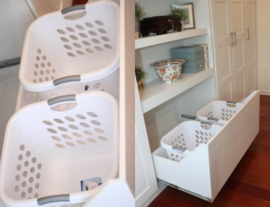 Αδειάστε τα ντουλάπια σας ή προσθέστε μια συρταριέρα για να βάλετε εκεί τα καλάθια με τα άπλυτα και τους κάδους απορριμάτων.