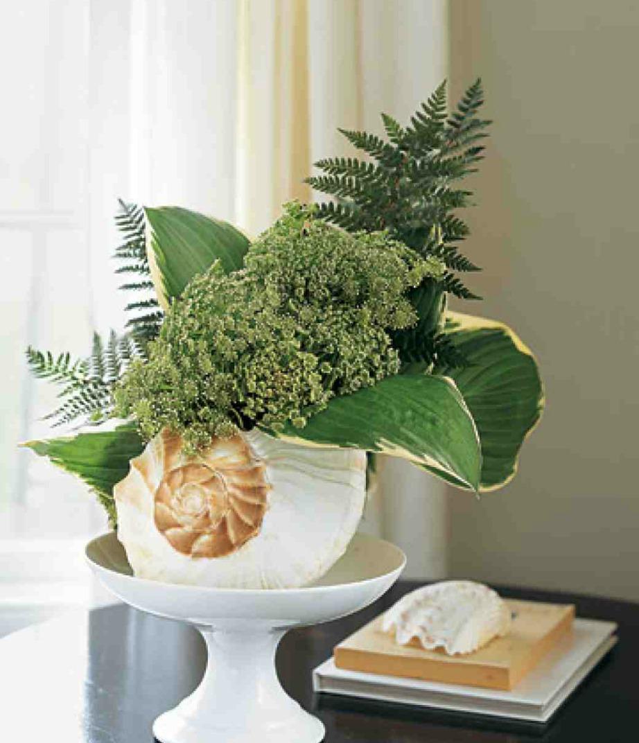 Προσθέστε ένα λευκό κοχύλι στο οποίο μπορείτε να βάλετε αν θέλετε λουλούδια.