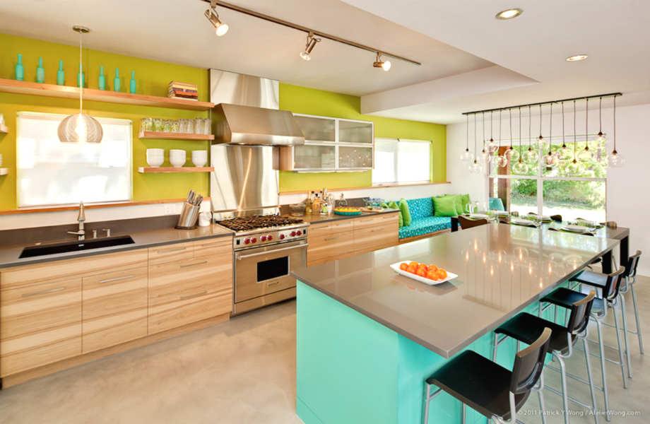 Το λάιμ και το τιρκουάζ, θα κάνουν την κουζίνα σας το πιο χαρούμενο μέρος του σπιτιού σας.