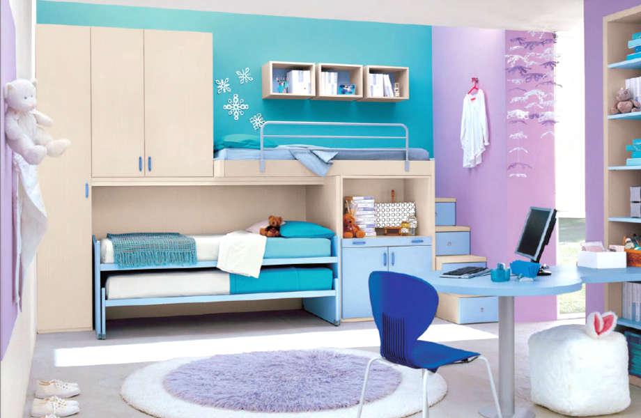 Ο συνδυασμός του τιρκουάζ με το μοβ της λεβάντας είναι ιδανικός για το παιδικό δωμάτιο.