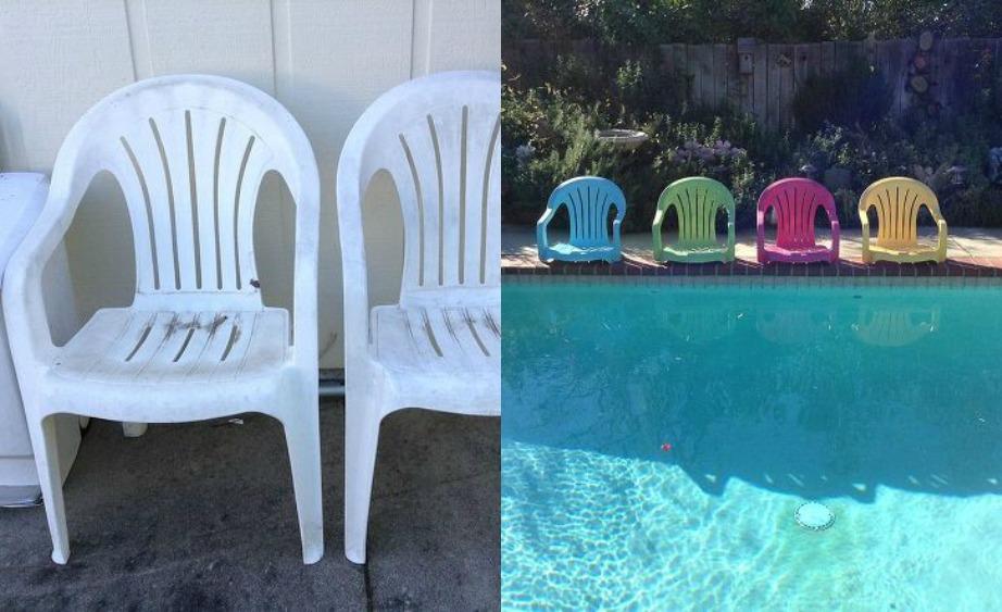 Αν έετε πισίνα ή κήπο με γρασίδι, κόψτε τα πόδια από τις πλαστικές καρέκλες για να δημιουργήσετε όμορφα αναπαυτικά καθισματάκια.