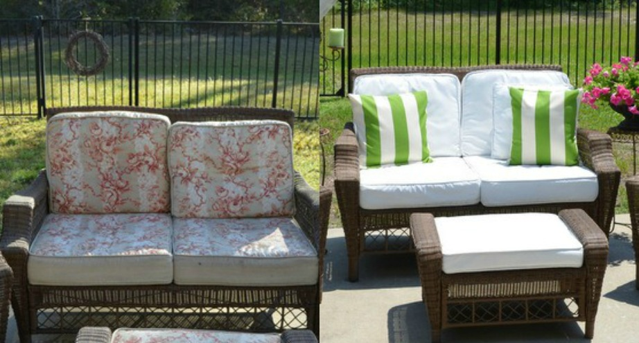 Σε αυτή την εικόνα βλέπετε πώς ήταν και πώς έγινε ένας καναπές βεράντας μετά το βάψιμο.