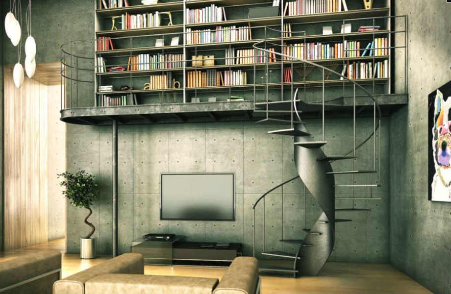 Σε αυτό το εργένικο σπίτι, η βιβλιοθήκη κερδίζει τις εντυπώσεις.