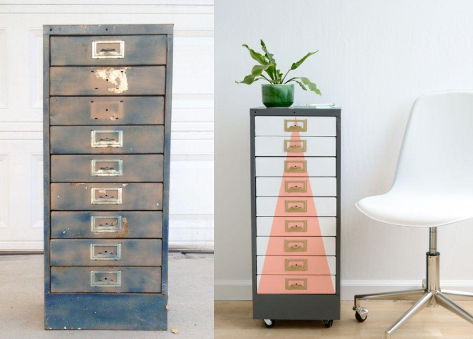 Μια παλιά μεταλλική συρταριέρα έγινε το τέλειο επιπλάκι για μοντέρνα ή βιομηχανική διακόσμηση.