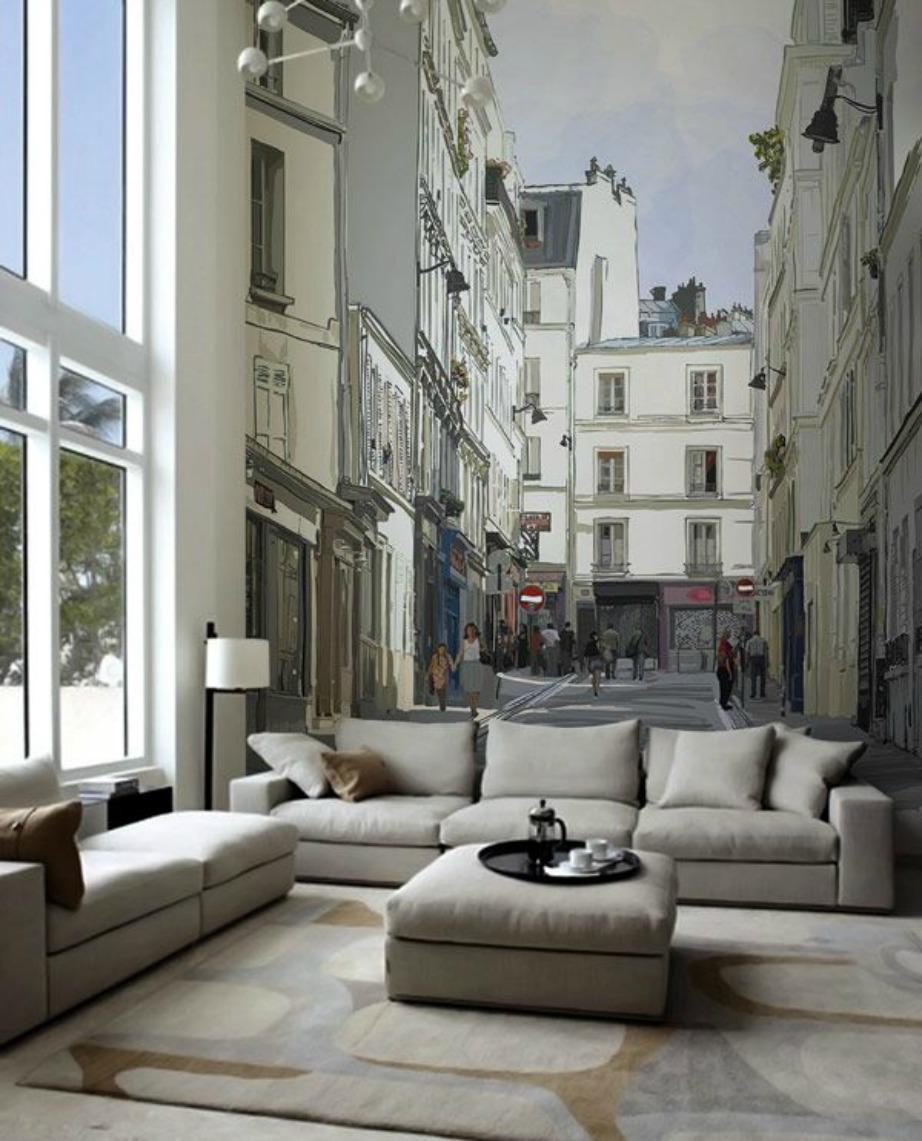 Το γκρεζ στο σαλόνι δείχνει φανταστικό. Δείτε πόσο αληθοφανής είναι αυτή η ταπετσαρία πίσω από τον καναπέ.