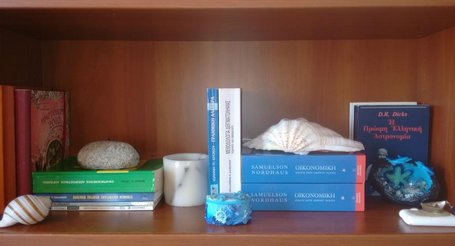 Η βιβλιοθήκη μετά την αλλαγή. Κράτησα τα απαραίτητα και διακόσμησα με καλοκαιρινά στοιχεία.
