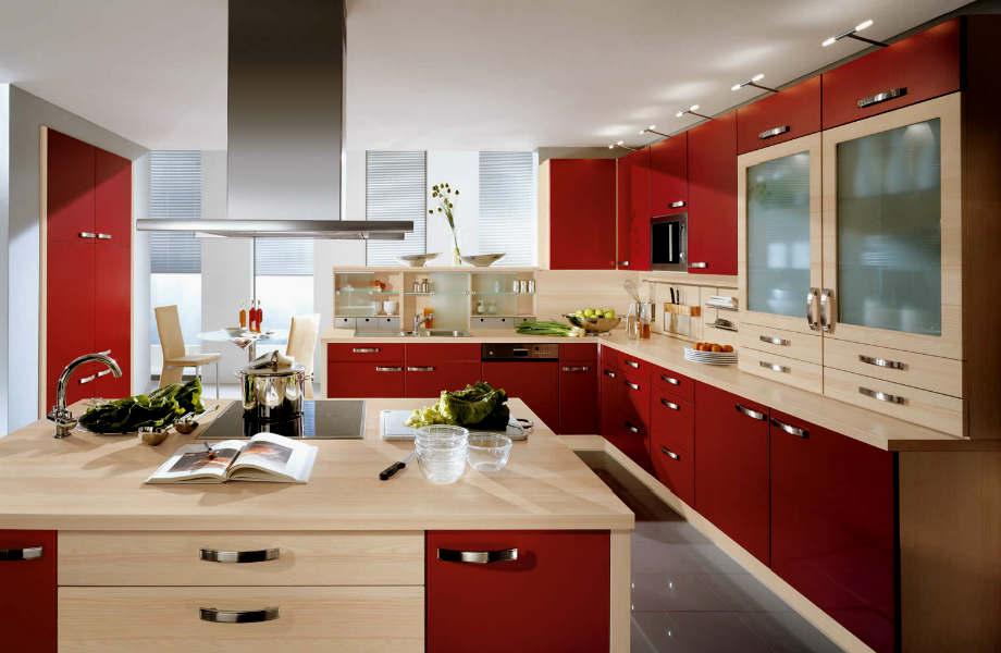 Το μπορντό γεμίζει με το vintage αέρα του κάθε μοντέρνα κουζίνα.