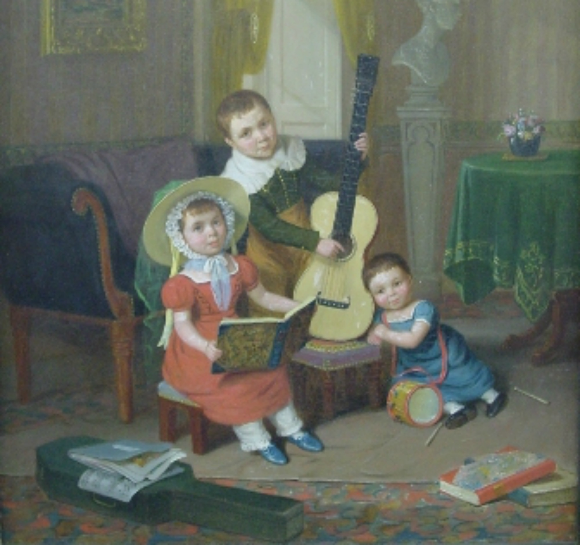 όπως θα δείτε σε αυτόν τον πίνακα, στο σημείο που κάθονταν τα παιδιά υπήρχε στρωμένο άλλο χαλάκι για να προστατεύεται το κυρίως χαλί.
