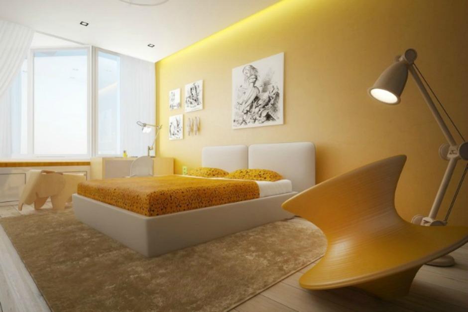 Εδώ κυριαρχεί το κίτρινο χρώμα σε συνδυασμό με λευκό και μπεζ