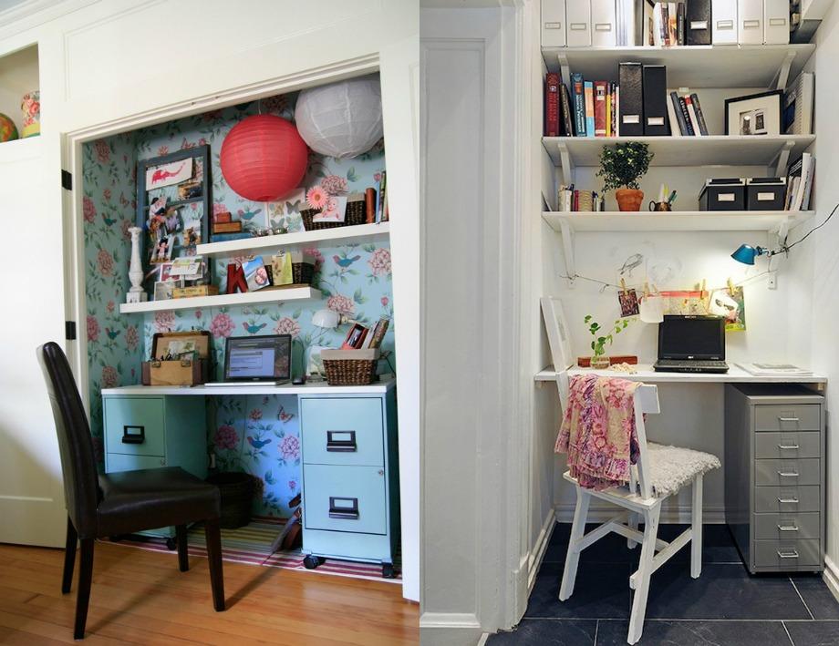 Βάλτε ταπετσαρία στον τοίχο και ράφια για να δημιουργήσετε το τέλειο περιβάλλον εργασίας