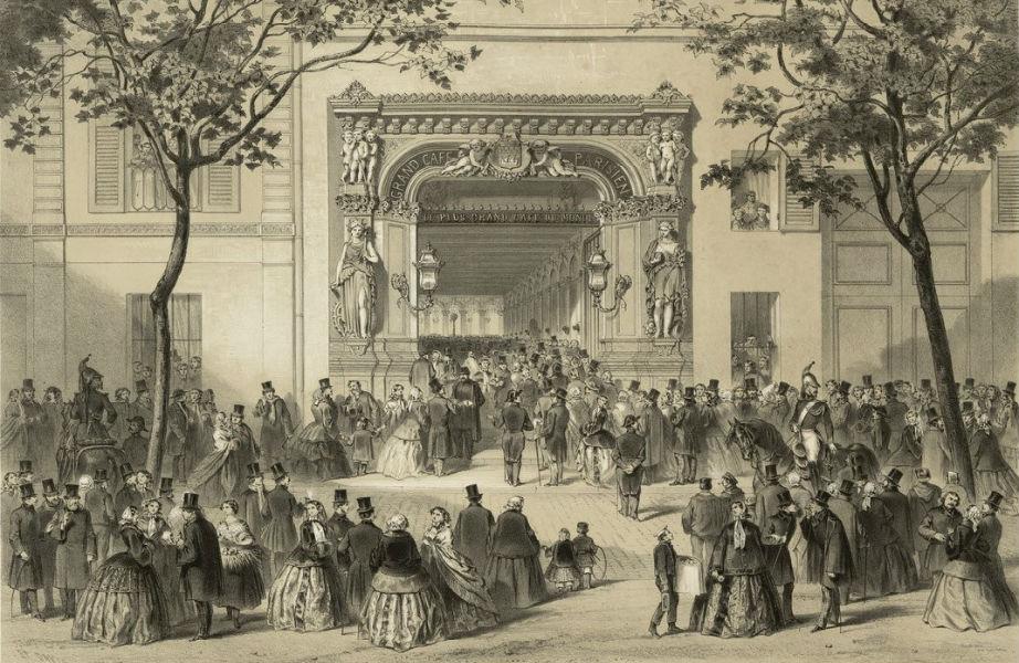 Γκραβούρα που απεικονίζει το Grand Cafe Parisien, σχέδιο του αρχιτέκτονα του Μπατακλάν, Charles Duval.