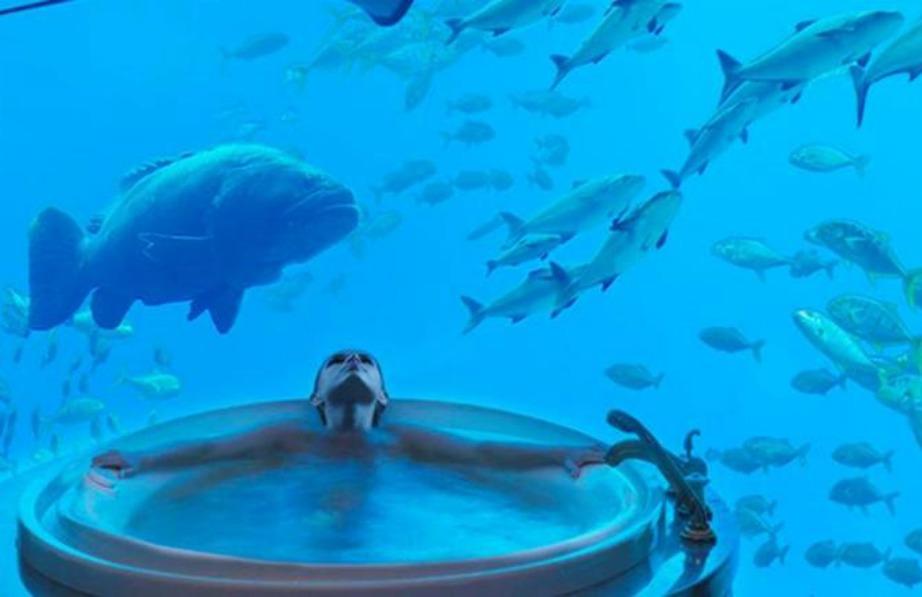 Μπορείτε αν θέλετε να απολαύσετε το τζακούζι σας ακριβώς μπροστά από τον υπέροχο βυθό του ωκεανού