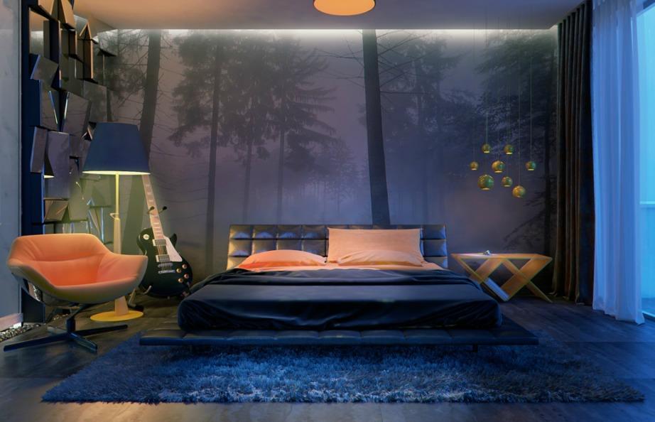 Αν επιλέξετε τις κατάλληλες αποχρώσεις μπλε και πορτοκαλί μπορείτε να δημιουργήσετε ένα πολύ χαλαρωτικό και όμορφο δωμάτιο