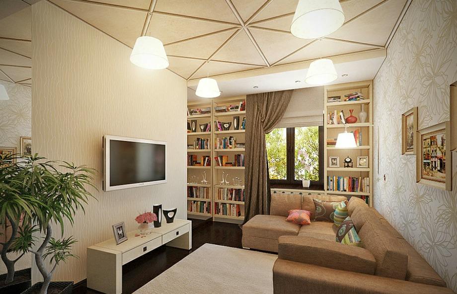 Μια διακριτική ταπετσαρία και μια όμορφα διακοσμημένη βιβλιοθήκη μπορούν να μεταμορφώσουν έναν χώρο εύκολα και χωρίς ιδιαίτερο κόπο