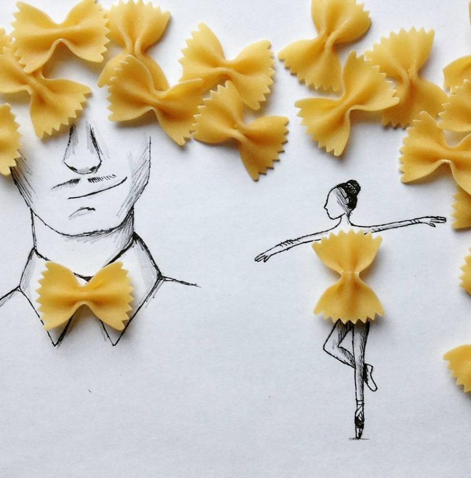 Ένα φιογκάκι από ζυμαρικά μπορεί να γίνει άνετα φορεματάκι μπαλαρίνας ή παπιγιόν. Στην τέχνη όλα επιτρέπονται
